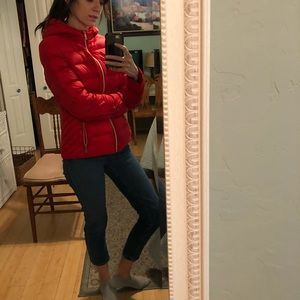 red puffer jacket tommy hilfiger